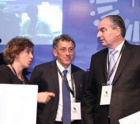 Elisa Carbonell, Aldo Longo y Ministro Aurelio Iragorri