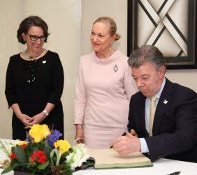 Presidente Juan Manuel Santos, Rebeca Grynspan, Benita Ferrero-Waldner