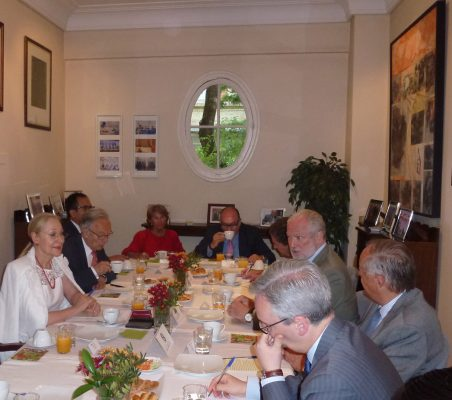 Benita Ferrero-Waldner, Ángel Durández, Luisa Peña, Vicente Lafora y José Luis López-Schümmer