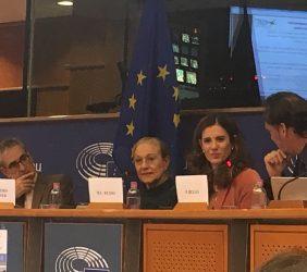 Segunda sesión: Europarlamentario Ramón Jáuregui; Benita Ferrero-Waldner; Maria Cristina Russo, Directora de Cooperación Internacional de DG Innovación&Investigación, y Pablo Bello, ASIET