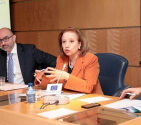 Hugo Sobral, Servicio de Acción Exterior Europeo, y Marisa Poncela, Secretaria de Estado de Comercio