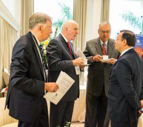 Carsten Moser, Vicepresidente de la Fundación Euroamérica; Embajador José Antonio García Belaunde; Embajador Alan Wagner, y Nestor Popolizio, Ministro de Relaciones Exteriores del Perú
