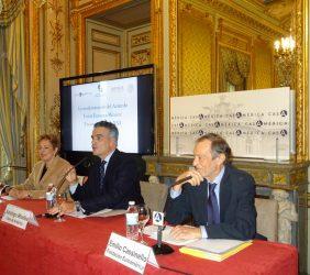 Roberta Lajous, Embajadora de México; Santiago Miralles, Director General de Casa América, y Emilio Cassinello, Vicepresidente de la Fundación Euroamérica
