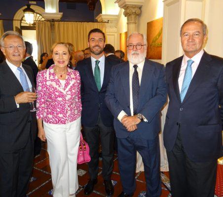 Ángel Durández, Benita Ferrero-Waldner, Antonio Cases, Miguel Arias Cañete y Ángel Galán