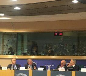 Javier Fernández, Secretario General de EuroLat; Mario Cimoli, J. Antonio García Belaunde y Ángel Durández