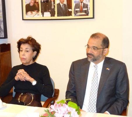 Antonieta Mendoza de López y el Embajador Olivo Rodríguez Huertas