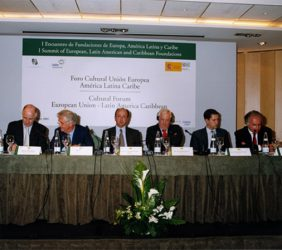 Dennis Mc. Shane, Tristan Garel-Jones, Miguel Á. Cortés,Christopher Patten, Alfonso Quereda y Joaquim Falcâo