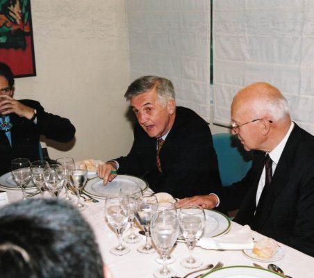 Nigel-Lawson, Tristan Garel Jones y Helmut Schlesinger
