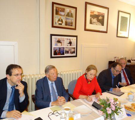 Miguel Arroyos, Carsten Moser, Benita Ferrero-Waldner, Carlos López Blanco y José María Beneyto