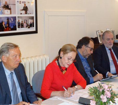 Carsten Moser, Benita Ferrero-Waldner, Carlos López Blanco y José María Beneyto