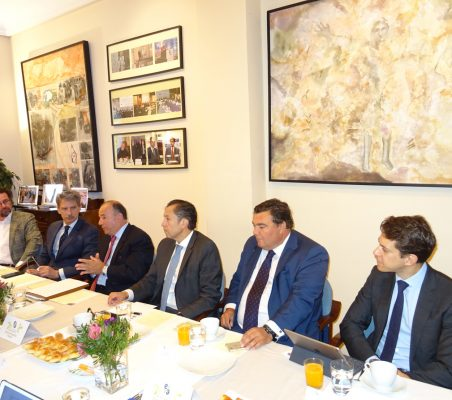 David Suriol, J. Ignacio Salafranca,  Embajador Claudio de la Puente, David Tuesta, Oscar Díaz-Canel y Juan Ignacio de  Guzmán