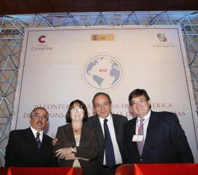 Carlos Marín, Rosa Conde, Héctor Aguilar y Jaime Abello en la sesión de periodistas