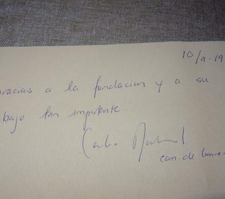 Firma Comisaria Cecilia Malmström en el libro de Honor