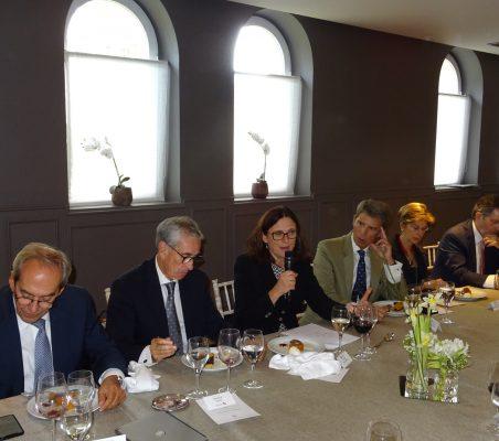 José Manuel González Páramo,Ramón Jáuregui, Cecilia Malmström y José Ignacio Salafranca, Carolina Barco, Roberto Ampuero y José Luis López Schümmer