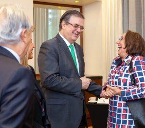 Ángel Durández, Marcelo Ebrard y Rebeca Grynspan