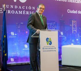 El Canciller Marcelo Ebrard durante la inauguración del V Foro México- UE