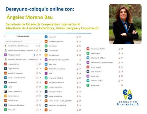 Participantes en el desayuno-coloquio con Ángeles Moreno Bau