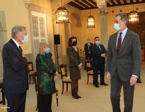 Audiencia de S.M. El Rey a la F.Euroamérica. Carsten Moser, Susana Marcorra, Carmen Librero, y Óscar Díaz-Canel