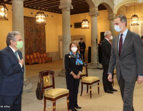 Audiencia de S.M. El Rey a la F.Euroamérica. José Gasset y Luisa Peña