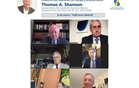 El Embajador Thomas Shannon junto al presidente y vicepresidentes de la Fundación Euroamérica