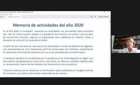 Luisa Peña interviene en la reunión y detalla la Memoria de actividades de 2020