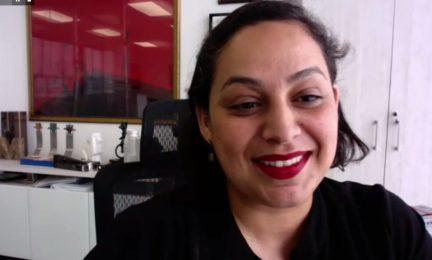 Estrella Araiza, durante su intervención