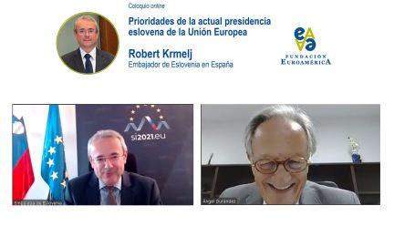 Embajador de Eslovenia y Ángel Durández
